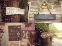 outdoor-rustic-country-diy-wedding-personalized-decor-details-just-married-sign-chalkboards