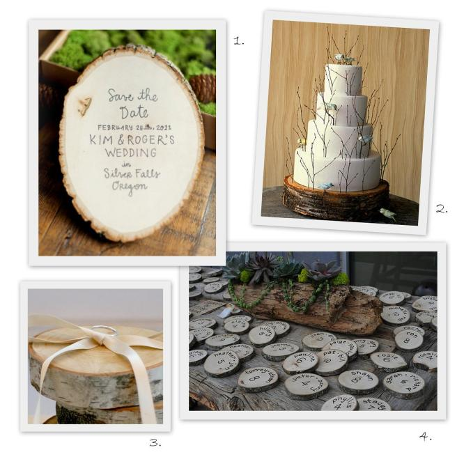 wood slice wedding decor