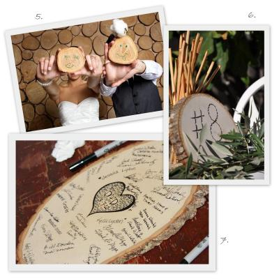 wood slice wedding guestbook table number