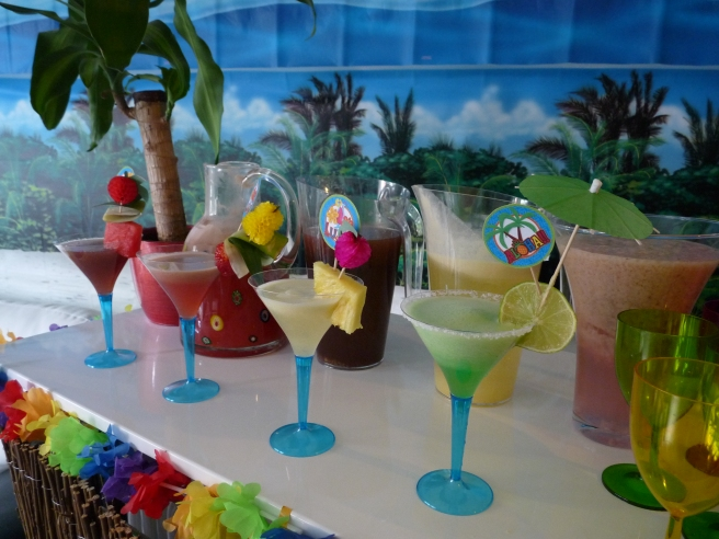 Tropical cocktails 25th birthday hawaiian luau